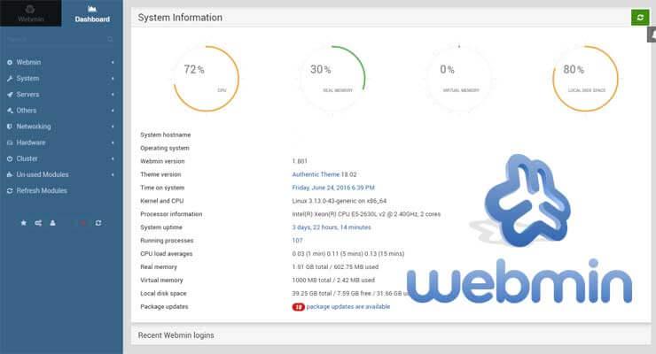 هاست سرور webmin