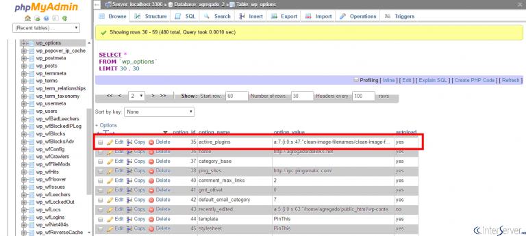 غیرفعال کردن پلاگین وردپرس از طریق phpmyadmin در cpanel