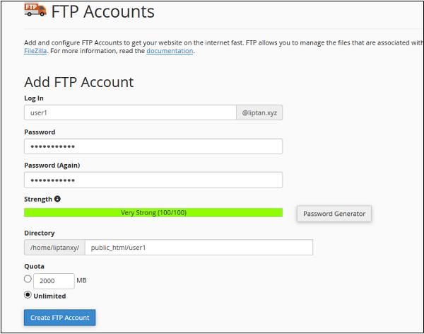 اضافه کردن حسابهای FTP در هاست cpanel