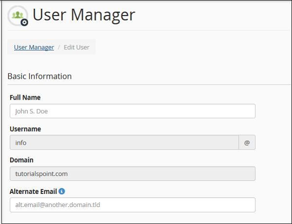 مدیریت کاربر در cpanel