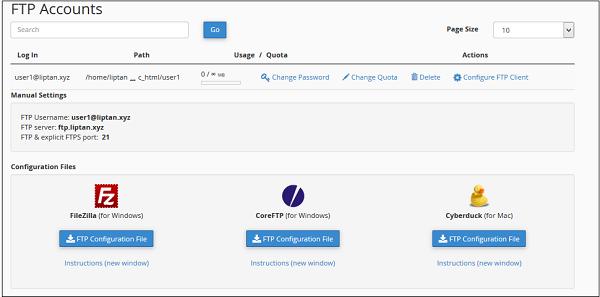 تنظیمات FTP هاست cpanel در فایل زیلا