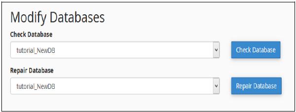 تغییر پایگاه داده هاست cpanel
