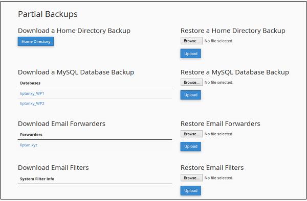 تهیه بکاپ backup جزئی در هاست لینوکس cpanel