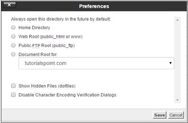 تنظیمات مدیریت فایل در cpanel