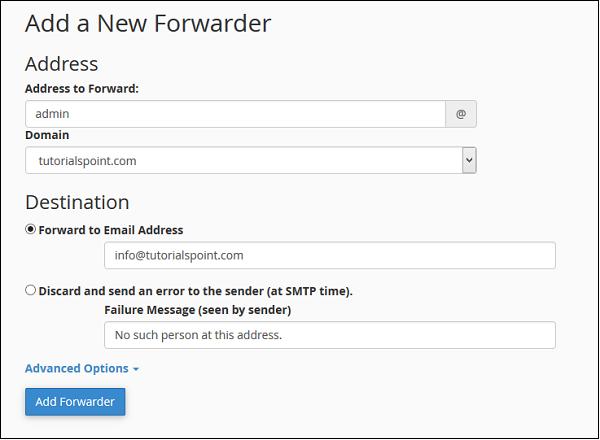 اضافه کردن ایمیل forwarder