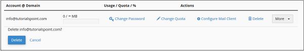 حذف ایمیل در Cpanel